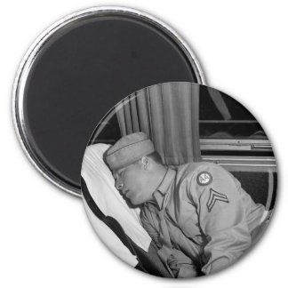 WW2 Soldier Napping, 1943 2 Inch Round Magnet