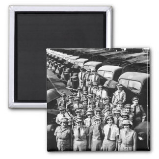WW2 Truck Ladies, 1940s 2 Inch Square Magnet