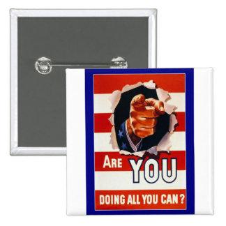 WW2 Wartime Propaganda Poster Pinback Button