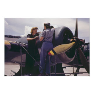 WW2 Women Airplane Mechanics Poster