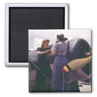 WW2 Women Aviation Mechanics 2 Inch Square Magnet