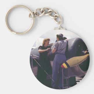 WW2 Women Aviation Mechanics Basic Round Button Keychain