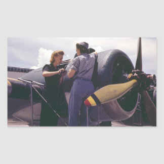 WW2 Women Aviation Mechanics Rectangular Sticker