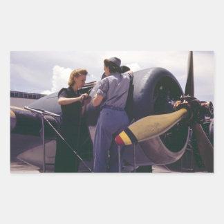 WW2 Women Aviation Mechanics Rectangle Sticker