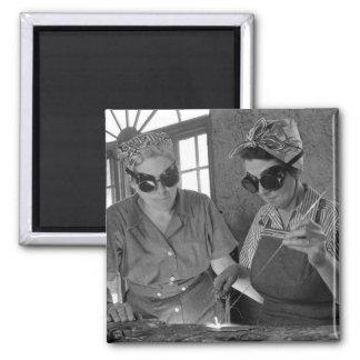 WW2 Women Welders, 1942 2 Inch Square Magnet