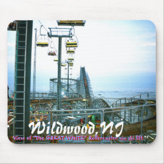 """ww3, Wildwood,NJ, View of """"The GREAT WHITE"""" Rol... Mouse Pad"""