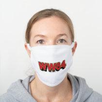 WW84   Retro Comic Logo White Cotton Face Mask