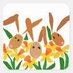 WW- arte de los conejos y de los narcisos de Pegatina Cuadrada