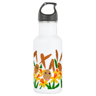 WW- Bunny Rabbits and Daffodils Art 18oz Water Bottle
