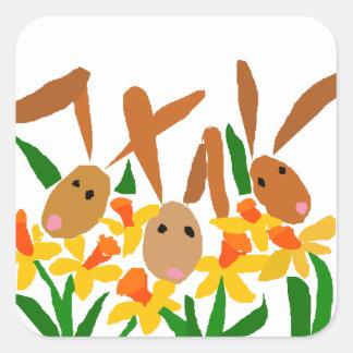 WW- Bunny Rabbits and Daffodils Art Square Sticker