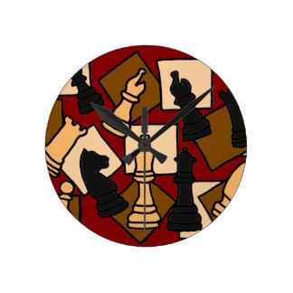 WW- Chess Game Pieces Art Round Wall Clocks