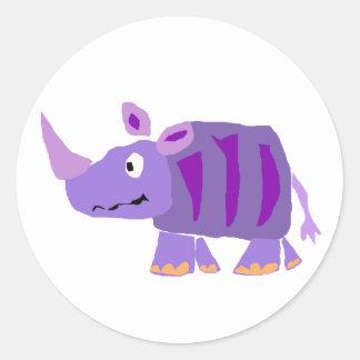 WW- Funky Purple Rhino Primitive Art Cartoon Classic Round Sticker