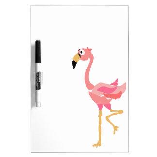 WW- Funny Flamingo Primitive Art Cartoon Dry Erase Board