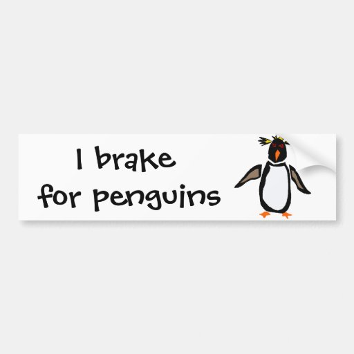 WW- Funny Rockhopper Penguin Primitive Art Car Bumper Sticker