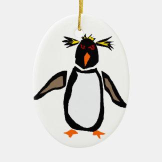 WW- Funny Rockhopper Penguin Primitive Art Ceramic Ornament