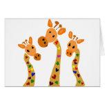 WW- Giraffe and Hearts Primitive Art Cartoon Greeting Card