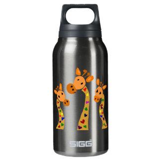 WW- Giraffe and Hearts Primitive Art Cartoon Insulated Water Bottle