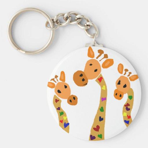 WW- Giraffe and Hearts Primitive Art Cartoon Key Chain