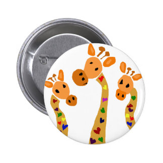 WW- Giraffe and Hearts Primitive Art Cartoon Pinback Button