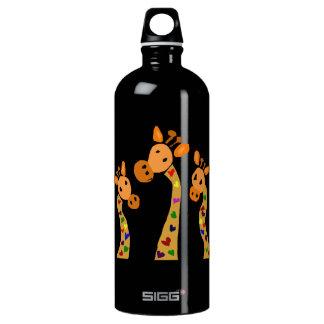WW- Giraffe and Hearts Primitive Art Cartoon SIGG Traveler 1.0L Water Bottle