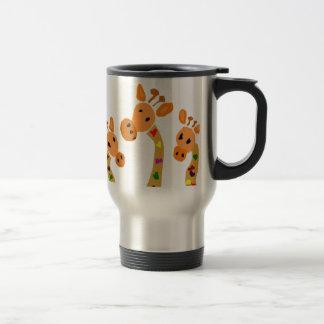 WW- Giraffe and Hearts Primitive Art Cartoon Travel Mug