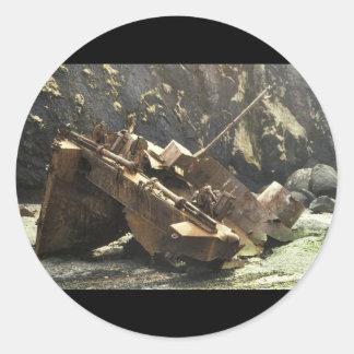 WW II Landing Craft Wreck on Amchitka Island Classic Round Sticker