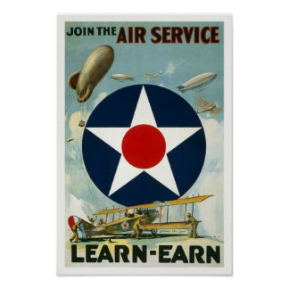 WWI Air Service, 1917. Vintage Poster