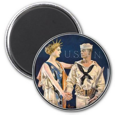 WWI America and Navy Man Magnet
