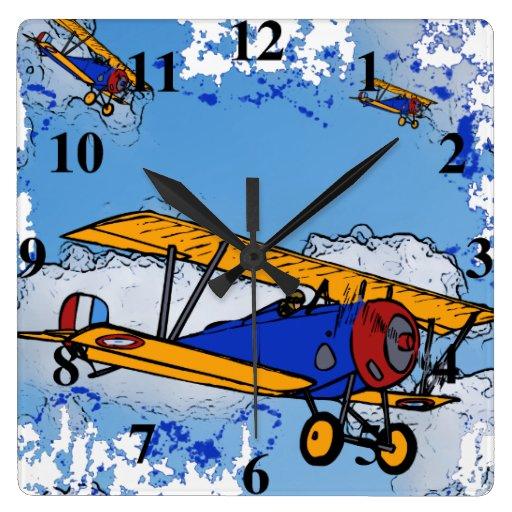 WWI Bi-Planes Wall Clock