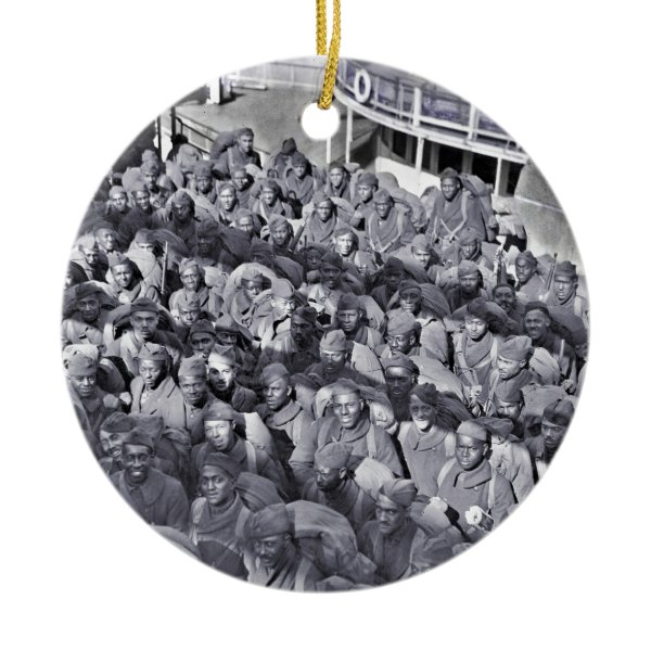 WWI Black Soldiers on Transport Ship Ceramic Ornament