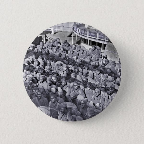 WWI Black Soldiers on Transport Ship Pinback Button