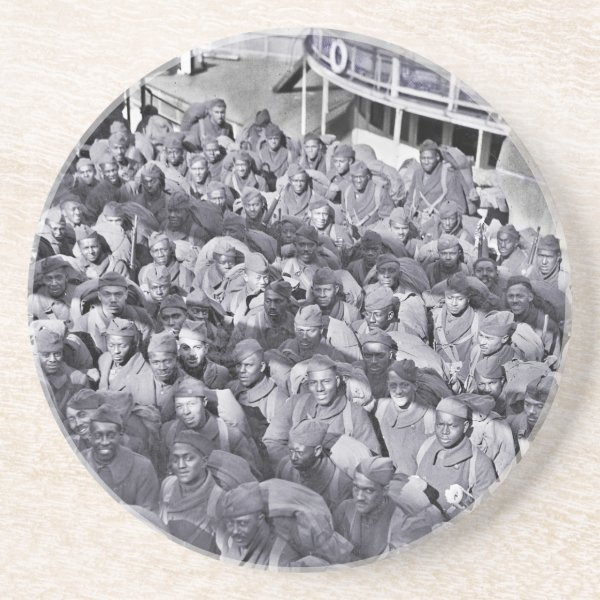 WWI Black Soldiers on Transport Ship Sandstone Coaster