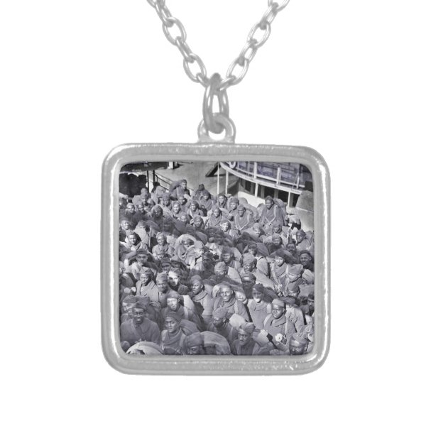 WWI Black Soldiers on Transport Ship Silver Plated Necklace