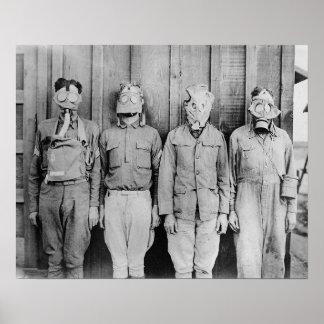 WWI Era Gas Masks, 1917. Vintage Photo Poster