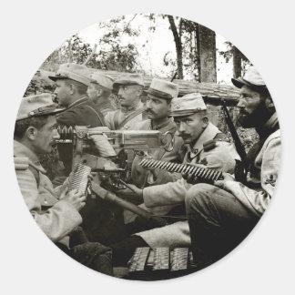 WWI French Machine Gun Crew Classic Round Sticker