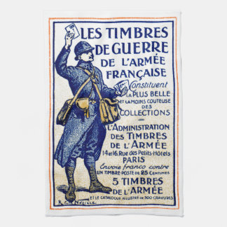 WWI French War Stamps Kitchen Towel
