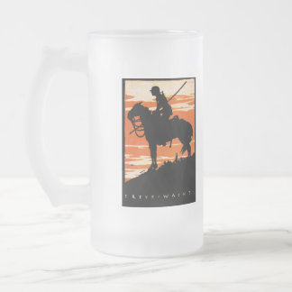 WWI German Cavalry Poster Frosted Glass Beer Mug