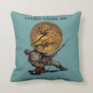 WWI Gold for French Victory Throw Pillows