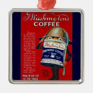 WWI Instant Coffee Ad Square Metal Christmas Ornament