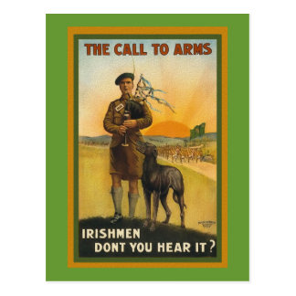 WWI Irish Recruiting Poster Postcard