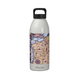 WWI Map of American Soldiers in Europe Water Bottles