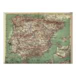 WWI Map of Spain and Portugal Print