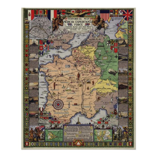 WWI Map of the American Expeditionary Force (1932) Poster