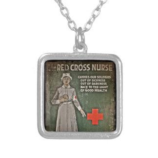 WWI Nurse Fund Raising Images Square Pendant Necklace