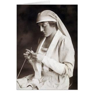 WWI Nurse knitting Sweater Card