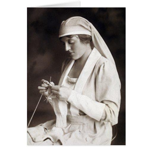 WWI Nurse knitting Sweater Cards