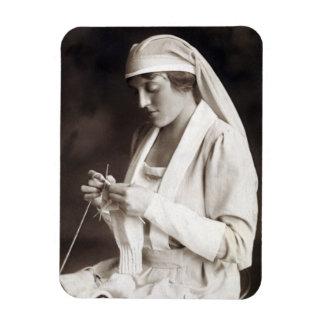 WWI Nurse knitting Sweater Magnet