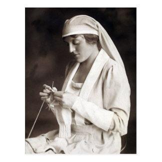 WWI Nurse knitting Sweater Postcard