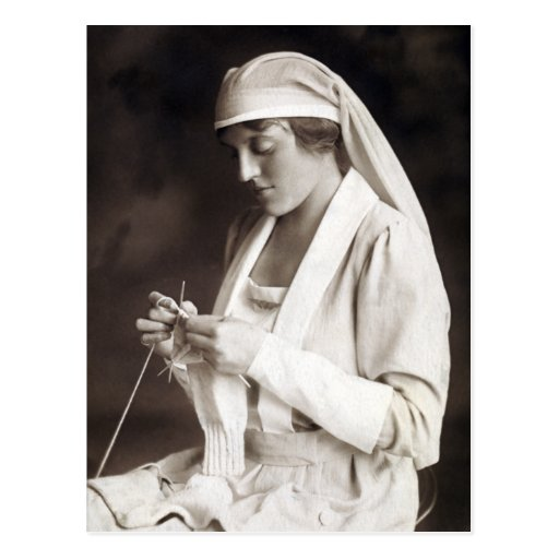 WWI Nurse knitting Sweater Post Cards