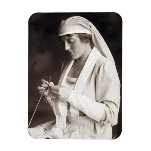 WWI Nurse knitting Sweater Magnets